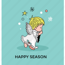 angel, christmas angel, cute angel, flying angel, happy season icon