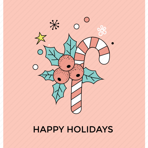 candy cane, candy with mistletoe, christmas celebration, confetti, happy holiday icon