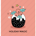 christmas celebration, holiday magic, holly berries, holly festive, mistletoe magic icon