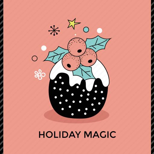 christmas celebration, holiday magic, holly berries, holly festive, mistletoe magic icon