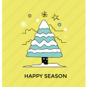 christmas celebration, christmas tree, decorative tree, happy season, snowy tree icon
