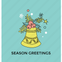 christmas celebration, greeting card, happy season, holly spring, season greeting icon