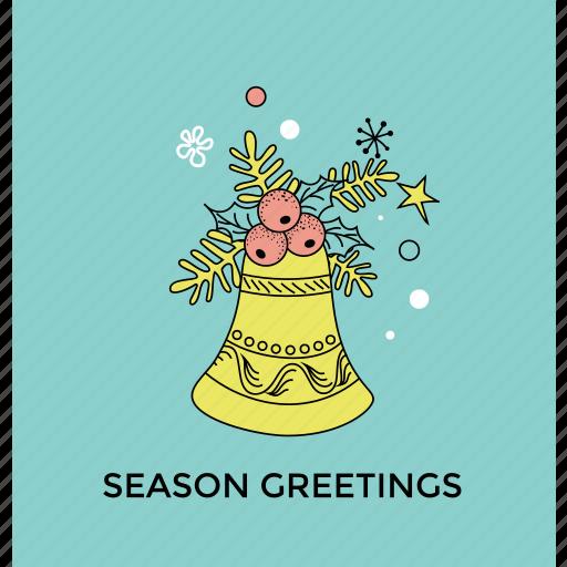 christmas celebration, greeting card, happy season, holly spring, season greeting icon