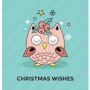 christmas owl, christmas wishes, happy season, holly spring, wishing postcard icon