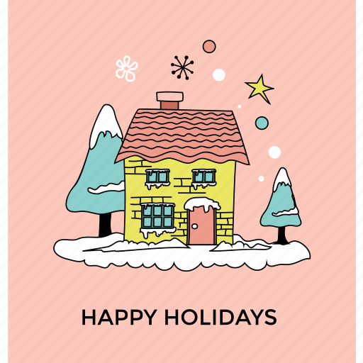 beautiful view, christmas celebration, decorated house, happy holiday, snowy season icon