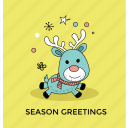 cartoon reindeer, christmas card, christmas reindeer, funny deer, season greetings icon