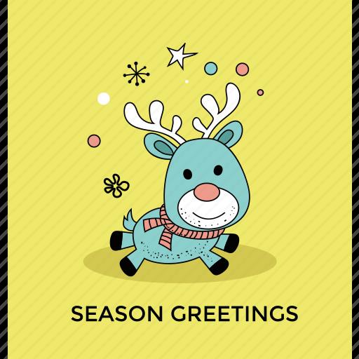 cartoon reindeer, christmas card, christmas reindeer, funny deer, season greetings icon
