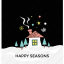 christmas concept, happy season, holiday celebration, snowy weather, winter night icon