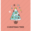 christmas celebration, christmas party, christmas tree, decorated conifer, decorative tree icon