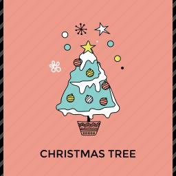 christmas celebration, christmas party, christmas tree, decorated conifer, decorative tree icon