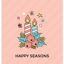happy season, holly season, merry christmas, mistletoe holiday, party decoration icon