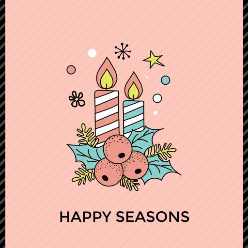 happy season, holly season, merry christmas, mistletoe holiday, party decoration icon