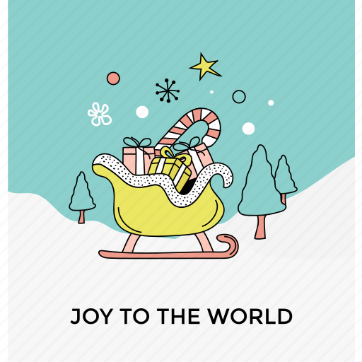 celebration theme, christmas card, happy season, joy to the world, postcard icon