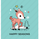 cartoon deer, christmas character, christmas deer, funny deer, funny reindeer icon