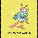 christmas bird, christmas postcard, funny sparrow, joy to the world icon