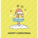 candy cane signpost, christmas ornament, direction maker, happy christmas, outdoor decoration icon