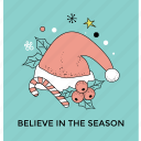 believe to the season, christmas accessories, greeting postcard, happy christmas, holy festival icon