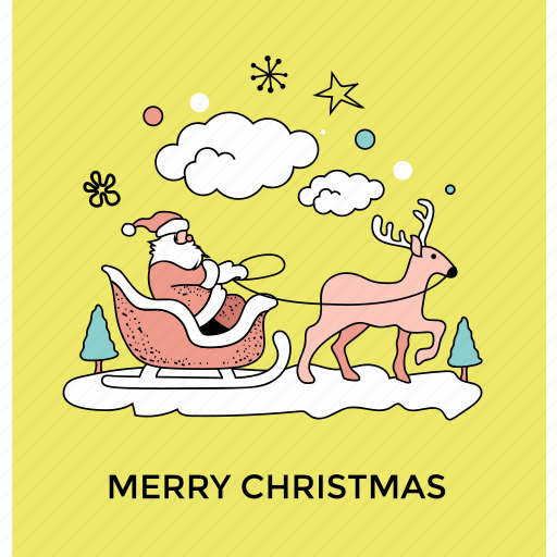 gift delivery, holiday festival, merry christmas, reindeer sledding ride, santa claus ride icon