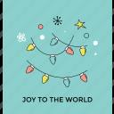 christmas lights, holiday celebration, joy to the world, party decoration icon