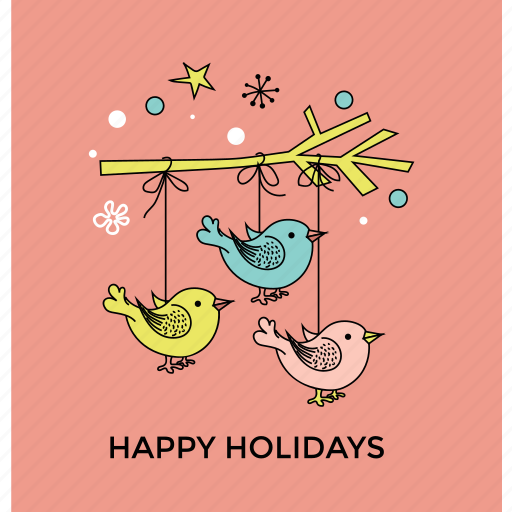 christmas birds, christmas ornament, christmas postcard, happy holiday, party decoration icon