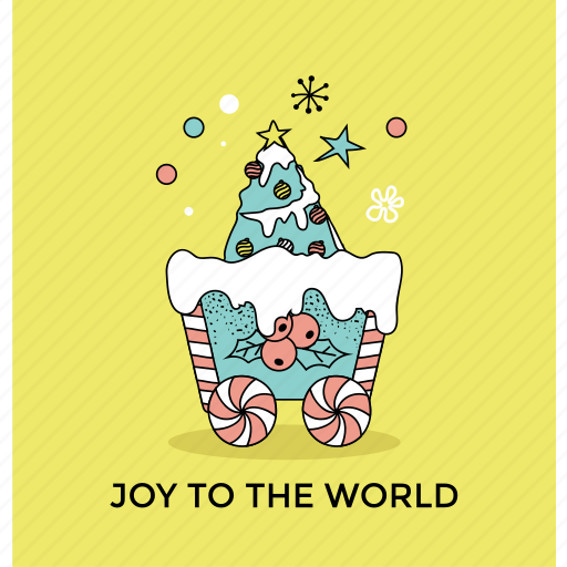 christmas decor, greeting card, holly festival, joy to the world, postcard icon