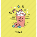 christmas accessories, christmas food, party elements, sweet desserts, xmas icon