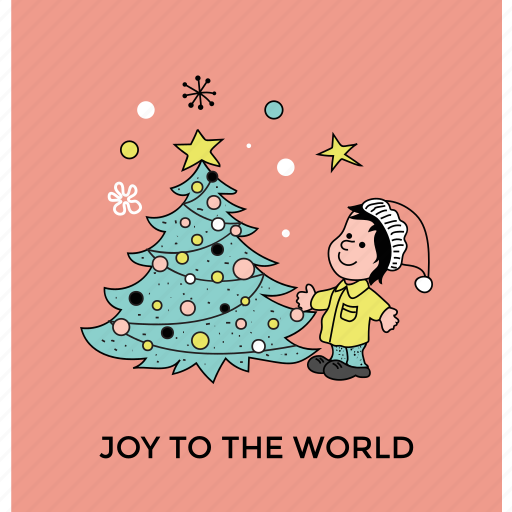 christmas celebration, greeting card, holiday enjoyment, joy to the world, party decoration icon