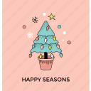 christmas tree, decorative tree, greeting card, happy season, postcard icon