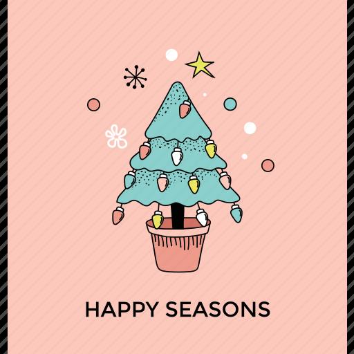 christmas tree, decorative tree, greeting card, happy season, postcard icon