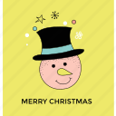 cartoon snowman face, christmas character, snowman, snowman face, snowman head icon