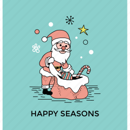 christmas celebration, gift delivery, greeting card, happy season, postcard icon