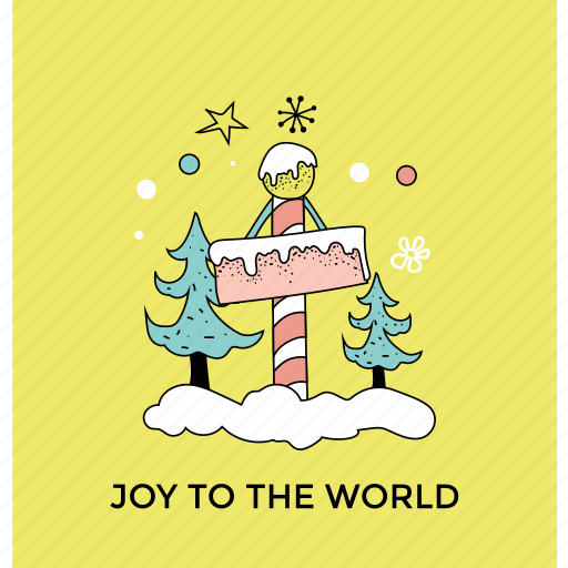 christmas signpost, decorating elements, happy christmas, joy to the world, party decoration icon