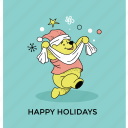 greeting card, happy holiday, happy pooh, happy season, postcard icon