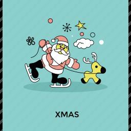 christmas theme, postcard, reindeer ride, santa claus, xmas icon