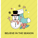 christmas accessory, merry christmas, new year decoration, snowman, winter season icon