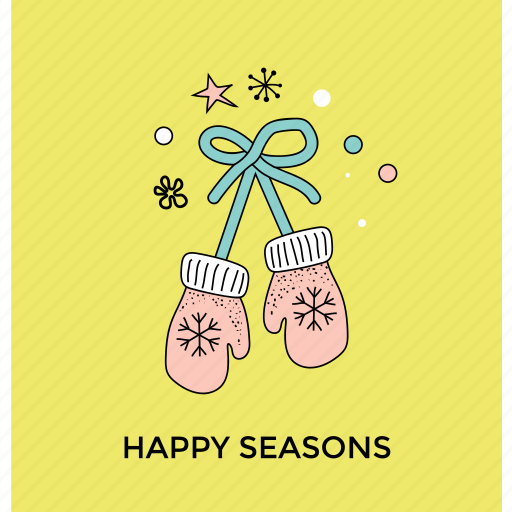 christmas gloves, mitten, snow gloves, winter season, winter wear icon