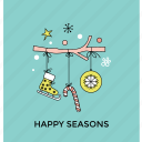 christmas festive, christmas postcard, greeting card, happy season, holiday celebration icon