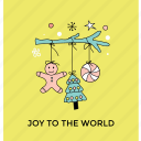 christmas accessories, christmas decoration, decorative element, joy to the world, toys decoration icon