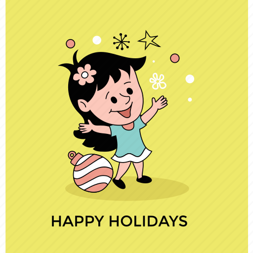 happy girl, holiday celebration, holiday greeting, little girl, postcard icon