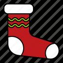 christmas, clothes, fashion, sock, xmas icon