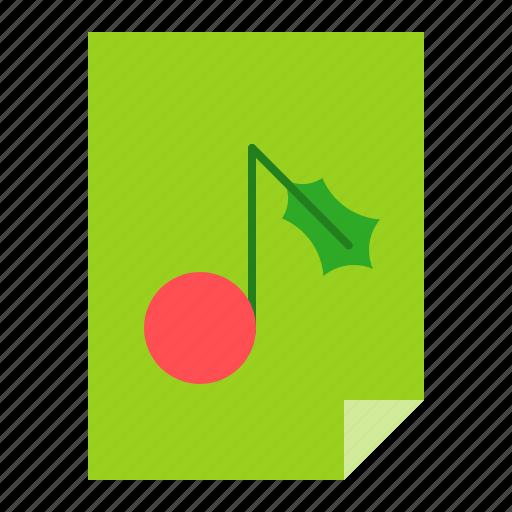 christmas, music note, paper, sheet, xmas icon