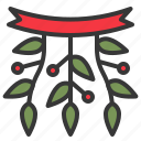 christmas, decoration, mistletoe, ornament, xmas icon