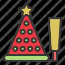 christmas, confetti, ornament, party hat, xmas icon