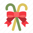 candy cane, christmas, ornament, ribbon, xmas icon