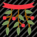 christmas, mistletoe, ornament, xmas icon