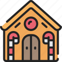 christmas, december, food, gingerbread, holidays, house icon