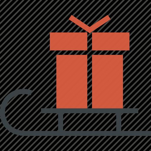 christmas, gift, holiday, present, santa, sledge, winter icon