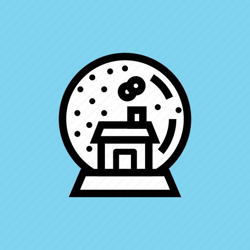 ball, christmas, crystal, gift, globe, house, snow icon