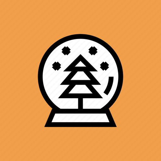 ball, christmas, crystal, gift, globe, snow, tree icon