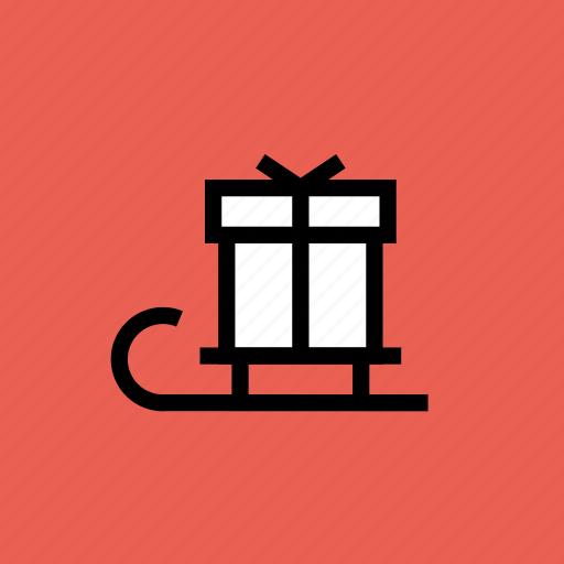 christmas, gift, holiday, new year, present, santa, sledge icon